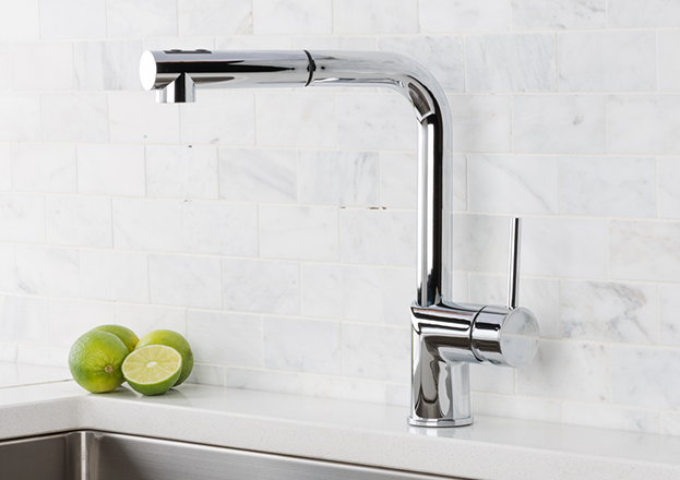 Hahn Ultra Modern Duo Single Lever Pull Out Kitchen Faucet Stainless